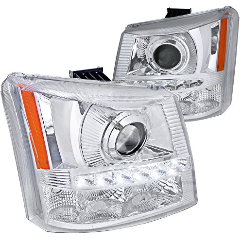 Spec-D Tuning 2LHP-SIV03-RS Chrome Projector Headlight (Halo 1 Piece with Led)