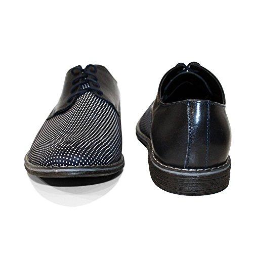 Modello Croppio - Handmade Italiennes Cuir Pour Des Hommes Bleu Marine Chaussures Oxfords - Cuir de vachette Cuir souple - Lacer