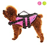 SCENEREAL Dog Life Jacket - Outdoor Safety Adjustable Vest for Small Medium Large Dogs Pets with Bright Colors Summer Swimming, Pink L