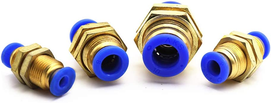 Juijnkt Tube One Touch Push Into Gas Connector Brass Quick Fitting 4Mm to 12Mm OD Hose Air Pneumatic Straight Bulkhead Union 10mm OD Hose