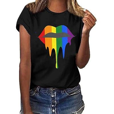 COOlCCI〓Graphic Tee Shirt for Women Teen Girls Short Sleeve Lips Print Graphic Tee Shirt Top Juniors Tees Army Green: Clothing [5Bkhe0306245]