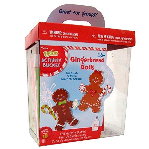 Christmas Arts and Crafts Foamies® Activity Bucket - Felt Gingerbread Dolls - Makes - Bucket Felt