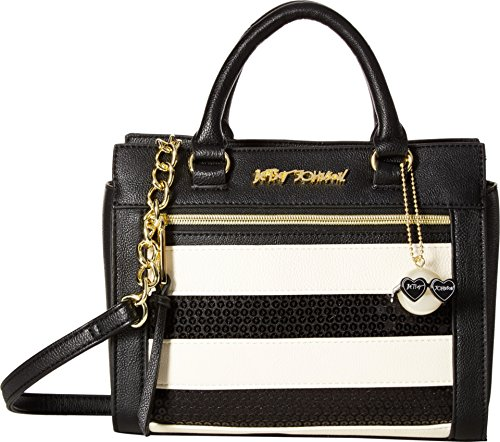 Betsey Johnson Women's Sequin Satchel Stripe Handbag
