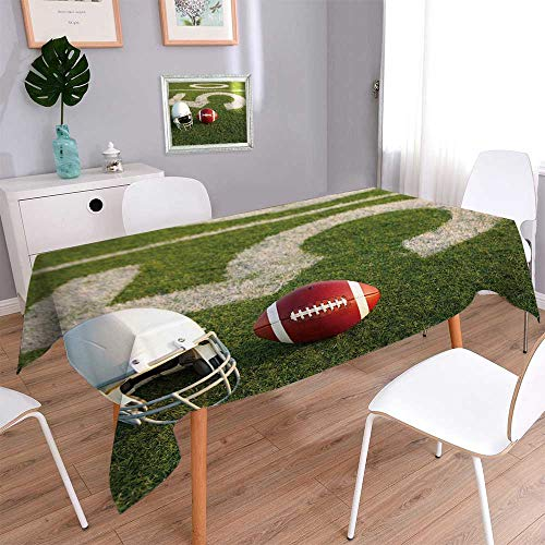 PINAFORE HOME Fitted Polyester Tablecloth American Football and Helmet on The Field with The Fifty Yard Line in The Banquet Wedding Party Restaurant Tablecloth/Rectangle, 70 x 120 -