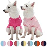 Blueberry Pet Pack of 2 Back to Basic Cotton Blend Summer Dog Polo Shirts in Amaranth Red and Pink, Back Length 16'', Clothes for Dogs