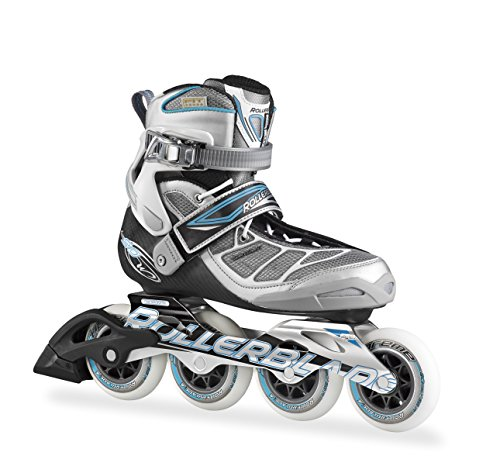 Rollerblade 15 Tempest 90C High Performance Fitness/Training Skate with 4x90mm Supreme Wheels, Silver/Light Blue, US Women's 8.5