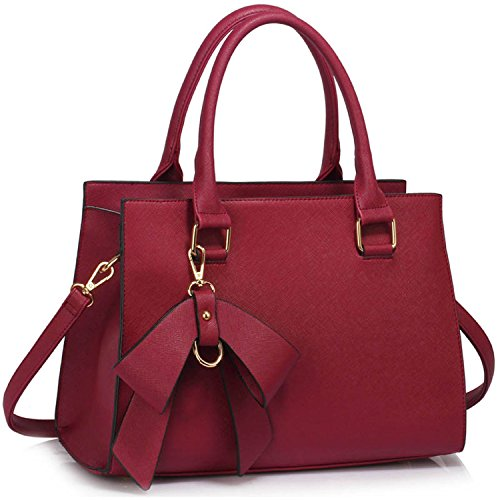 Xardi London - Borsa a tracolla donna Burgundy Faux Leather