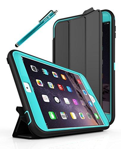 iPad Mini 4 Case, Style4U Slim Fit Dual Layer Hybrid Armor Protective Case Cover for Apple iPad Mini 4 with 1 Stylus [Blue]