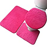 JUNGEN Flanel Bathroom Mat Non-slip Toilet Seat Cover Mat Bathroom Mats Bathroom Rugs and Mats Sets 3-Pieces (Rosy)