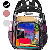 "Clear Backpack, 16"" Heavy Duty See Through Backpack, Transparent Large Bookbag for College - Black"
