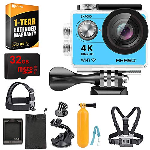 AKASO EK7000 Ultra HD Waterproof Sports Action Camera with Sports Camera Starter Kit (EK7000 AK-DVC-BL) + 32GB MicroSD High-Speed Memory Card & 1 Year Extended Warranty