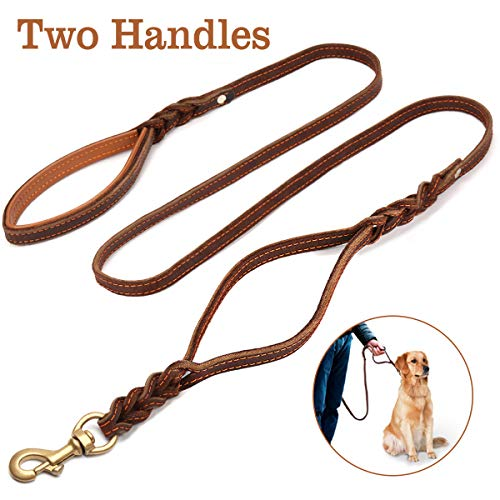 FOCUSPET Heavy Duty Leather Dog Leash with 2 Handles,Padded Traffic Handle For Extra Control,6Ft Dog Training Walking Leashes for Medium Large Dogs ()