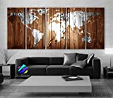 XLARGE 30″x 70″ 5 Panels Art Canvas Print Original Wood Texture Map vintage Brown White Wall decor Home interior (framed 1.5″ depth) Picture