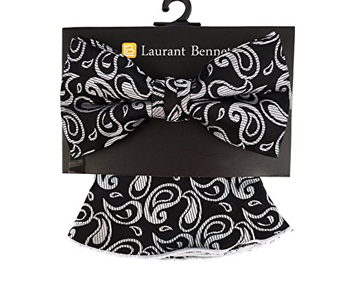 - Men's Paisley Floral Pre Tied Bow Tie & Round Pocket Square Hankie Gift Set (Black & Silver)