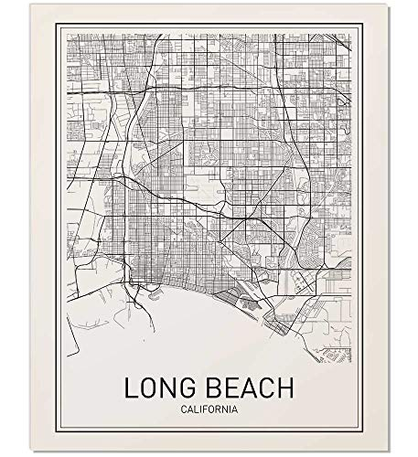 Long Beach Poster, Map of Long Beach, Long Beach Map, City Map Posters, Modern Map Art, City Prints, CA Poster, Minimal Print, Long Beach Art, City Poster, City Map Wall Art, minimalist posters, 8x10