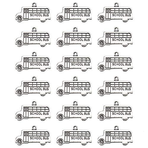 (JETEHO 60pcs 23x13mm School Bus Charms - Zinc Alloy School Theme Charms Pendant for Bracelet Necklace Jewelry Making Accessory(Antique Silver))