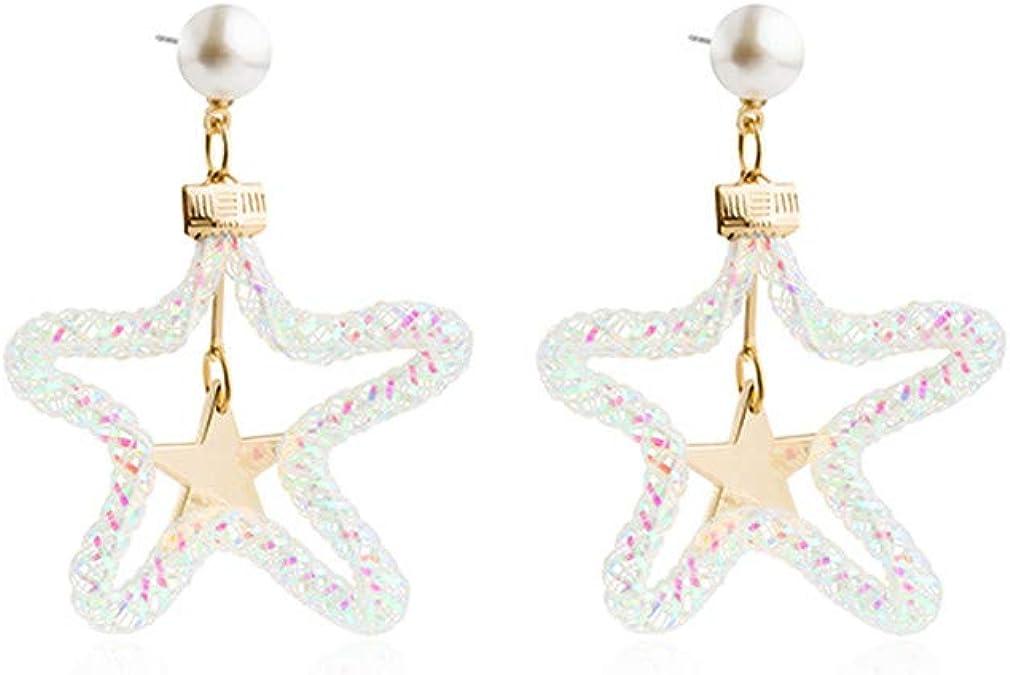 MEEOI Pendientes de aro de plata de ley 925 de para mujer Pendientes de aro con oreja de estrella de cinco puntas perforadas,