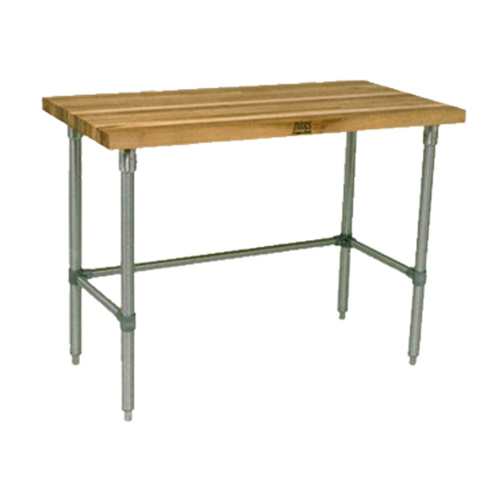 John Boos JNB17 Maple Top Work Table with Galvanized Base and bracing, 96'' x 36'' x 1-1/2''