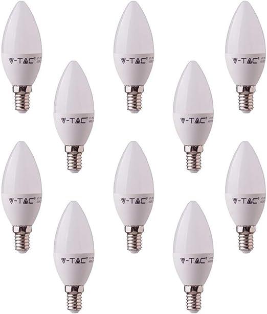 V-TAC LED vela bombillas - PACK DE 10 UNIDADES - blanco frío 6000 K - E14 rosca pequeña, SES base tipo accesorios/250 - de salida de alta lúmenes 3 W: Amazon.es: Iluminación