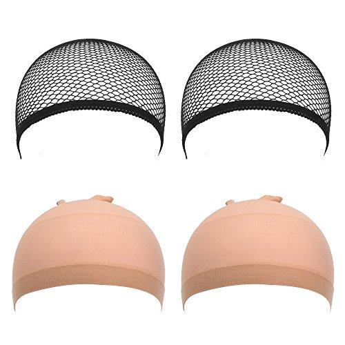 eBoot 4 Pack Wig Caps, Netural Nude Beige and Black Mesh