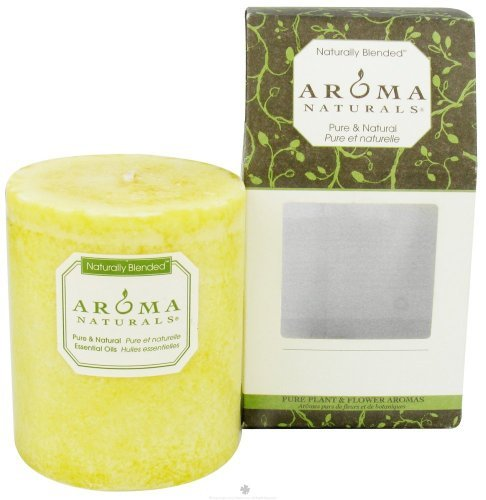 Aroma Naturals Naturally Blended Candles Ambiance (Lemon) 3'' x 3 1/2'' Pillars 60 hours burn time - 3PC