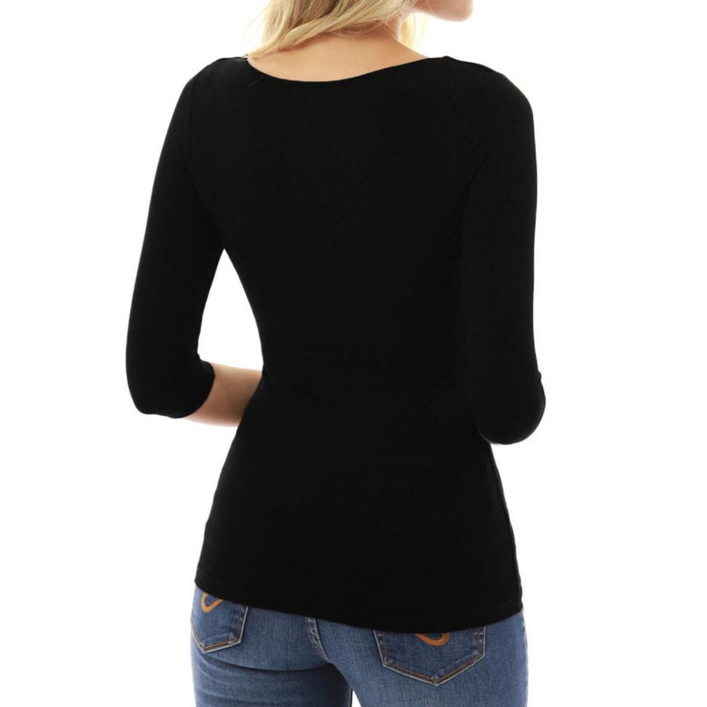 Landfox Camiseta de Mujer con Cremallera Casual Sexy Camiseta de Manga Tres Cuartos con Blusa Las Mujeres Ocasionales del Remiendo Sólido del Cordón de ...