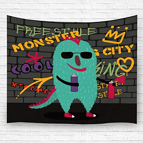 YILINGER Wall Art Tapestry Cute Funny Monster in Sunglasses Holding Spray Cans with Wall Hanging Tapestry Wall Decoration Carpet 51.2
