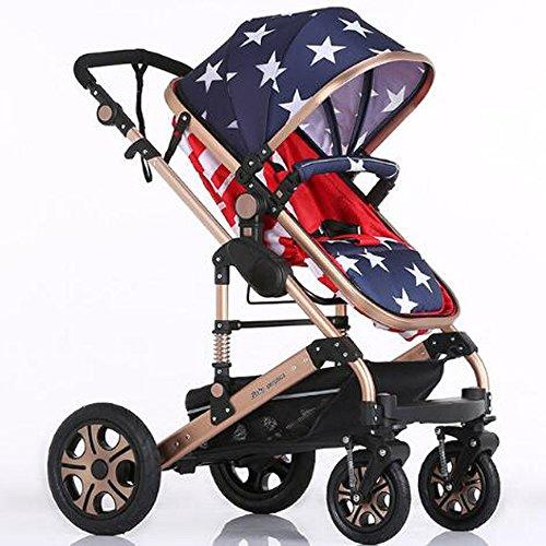 Baby Stroller High Landscape Trolley Baby Car Wheelchair Prams for Newborns Baby Portable Bassinet Folding Baby Carriage (American)