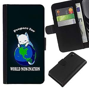 All Phone Most Case / Oferta Especial Cáscara Funda de cuero Monedero Cubierta de proteccion Caso / Wallet Case for Sony Xperia Z3 D6603 // World Planet Earth Cat Ruler White King Anime