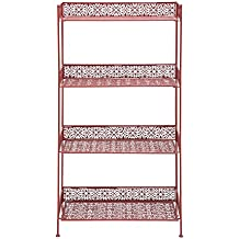 Woodland Imports Metal Étagère Baker's Rack (red) - Metal Frame with four Shelves-Sturdy Standing Metal Organization Rack for your Kitchen or Patio- Perfect Baking Space Saver and Modern Kitchen Essential