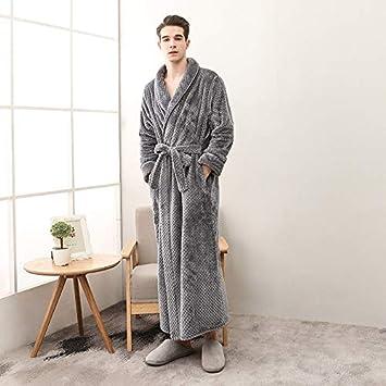 EingY Batas De Hombre Vestido De Lana Lujoso Albornoz Cuello De Chal Pijamas De Servicio A Domicilio XXXL: Amazon.es: Hogar