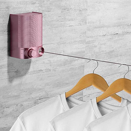 KDOAE Washing Line Indoor High Load Retractable Clothesline Wall Mounted Retractable Clothesline with Adjustable (Color : Pink, Size : 8.7X6x12cm)
