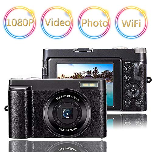 Digital Camera Vlogging Camera Camcorder 24MP Full HD WiFi YouTube Camera 3.0 Inch 180 Degree Rotation Flip Screen Camera 16X Digital Zoom