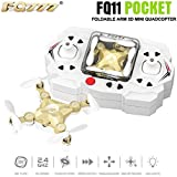 QWinOut FQ777-FQ11 2.4Ghz 6 Axis Gyro Remote Control Mini Quadcopter 360 Roll 3D Drone RTF With Foldable Arm Headless One Key Return - No Camera (Champagne Gold)
