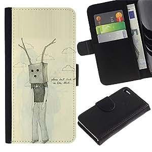 Billetera de Cuero Caso Titular de la tarjeta Carcasa Funda para Apple Iphone 4 / 4S / Bag Antlers Sad Emo Ugly Drawing / STRONG
