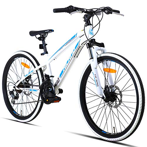 Hiland 24 Inch Mountain Bike for Boys and Girls, Children Teenager Youth Commuter Bicycle with Disc-Brake, Shimano 21 Speeds, White