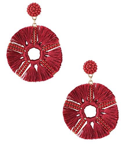 HSWE Round Beaded Tassel Earrings for Women Statement Drop Earrings Handmade Beads Dangle Earrings (Burgundy)
