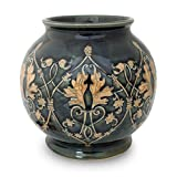 NOVICA Decorative Celadon Ceramic Vase, Green, 'Thai Emerald'