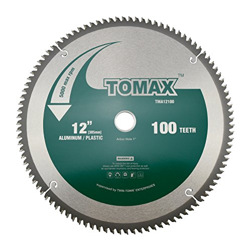 - TOMAX 12-Inch 100 Tooth TCG Aluminum and Non-Ferrous Metal Saw Blade with 1-Inch Arbor