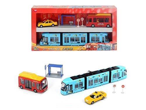 DICKIE City Liner Set Straßenbahn Spielzeug Taxi Bus Haltestelle Kinder Bahn