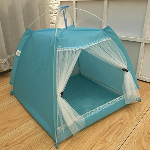 Cat Warmer Mat Removable and Washable Yurt Pet Nest Puppy Pet Tent (bluee Gauze Tent)