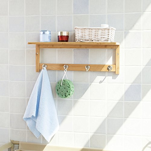 SoBuy® Badezimmer und Küchen Wandregal mit Hakenleiste und Ablage, Handtuchhalter aus Bambus,FRG72-N