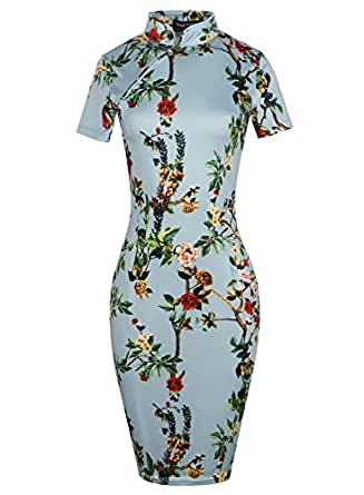 oxiuly Women's Vintage Floral Flare Stretch Stand Collar Casual Work Pencil Dress OX183 (S, Baby Blue)