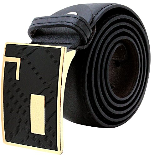 [Enimay Men's Genuine Leather Belt Rod Screwed Adjustable Removable Metal Buckle Gold Abstract Large (38-40)] (Abstract Belt Buckle)