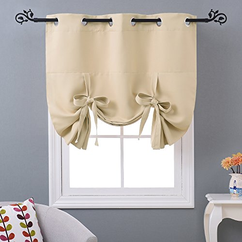 NICETOWN Window Blind Small Curtain   Tie Up Valance Shade For Bathroom  (Cream Beige, Grommet Top Panel, W46 X L63)