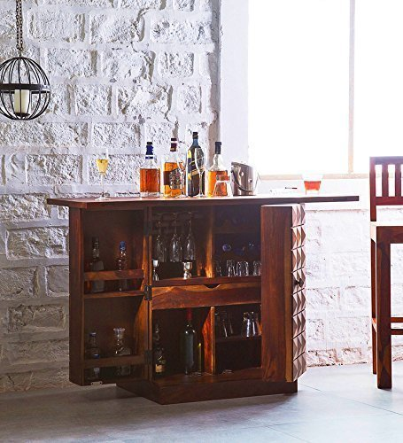 True Furniture Sheesham Wood Stylish Bar Cabinet with Wine Glass Storage for Living Room | Dark Brown
