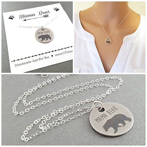 Mama Bear Charm Necklace - Sterling Silver Jewelry - Gift For (Mom Disc Charm)