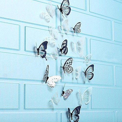 (WOCACHI Wall Stickers Decals 36 Pcs 3D Black White Butterfly Sticker Art Wall Decal Mural Home Decoration Art Mural Wallpaper Peel & Stick Removable Room Decoration Nursery Decor)