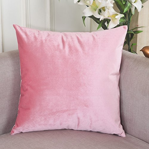 Home Brilliant Soid Velvet Square Decorative Cushion Cover Throw Pillow Cover for Teen Girl's Room/ Nursery/ Baby/ Wedding, 18x18 ines(45 cm), Blush Pink