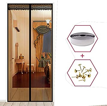 La cortina magnética anti mosquitos y las moscas de la habitación de verano, la red de malla, cierra automáticamente las pantallas de las puertas, las cortinas de la cocina A1 W110xH210